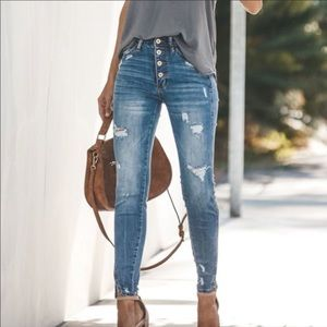 Distressed Jeans Denim Ripped High Rise Waist NEW